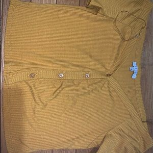 yellow button up crop top